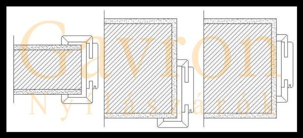 Az utólag szerelhető (átfogó tokos ajtók) beépítési módjai.