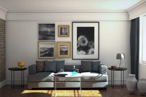 A világos és sötét kontrasztját teremthetjük meg azzal, ha fehéren hagyjuk a falakat, és a kiegészítőkkel, képekkel, függönyökkel, drapériákkal variálunk.