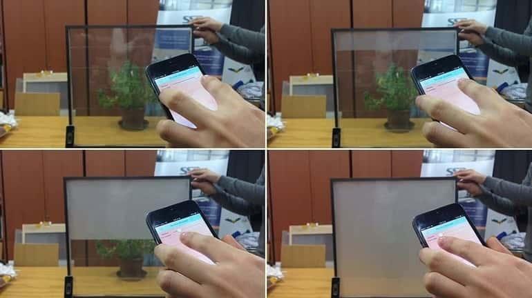 léteznek ma már gombnyomásra tejüveggé váló üvegfelületek