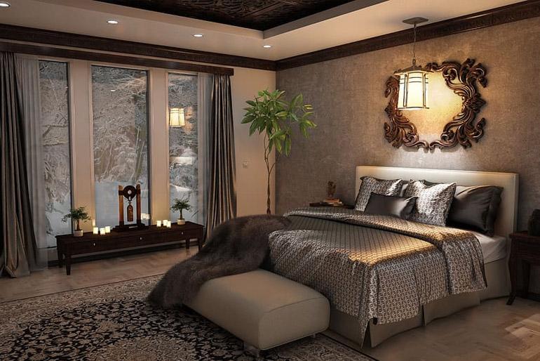 Klasszikus stílus: a hálószobában az ágy mindkét oldalán kell éjjeliszekrénynek lennie.