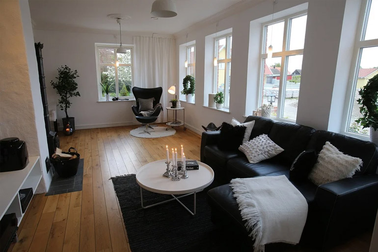 A skandináv házakban gyakran kandallót is találunk.